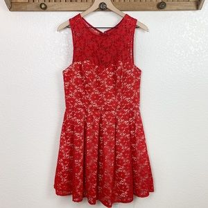 Xscape Red Lace Overlay Sweetheart Cocktail Dress